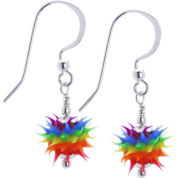 Handcrafted Fishhook Rubber Spiked 6mm Rainbow Dangle Earrings