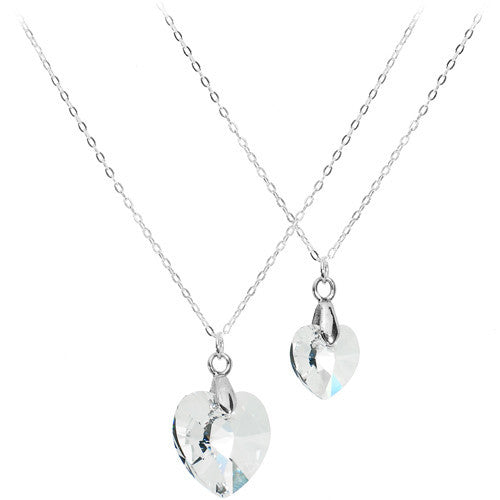Silver Clear Gem Family Necklace Set Created with Swarovski Crystals