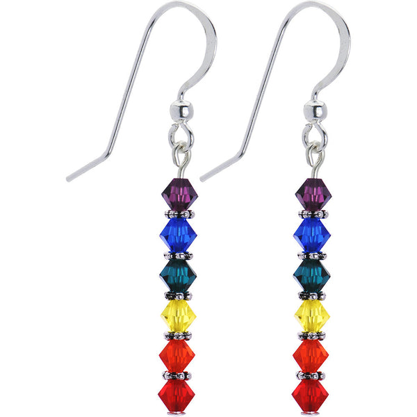 Rainbow Pride Drop Earrings Created with Swarovski Crystals