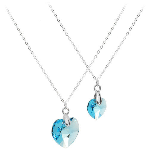 Silver Aqua Gem Daughter Necklace Set Created with Swarovski Crystals