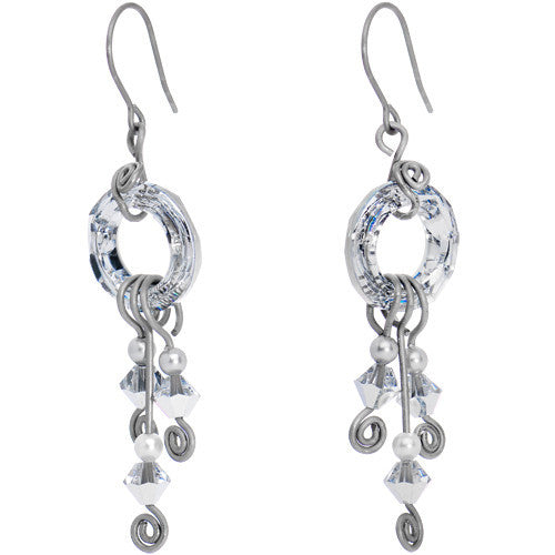 Handcrafted Clear Swirl Earrings Created with Swarovski Crystals