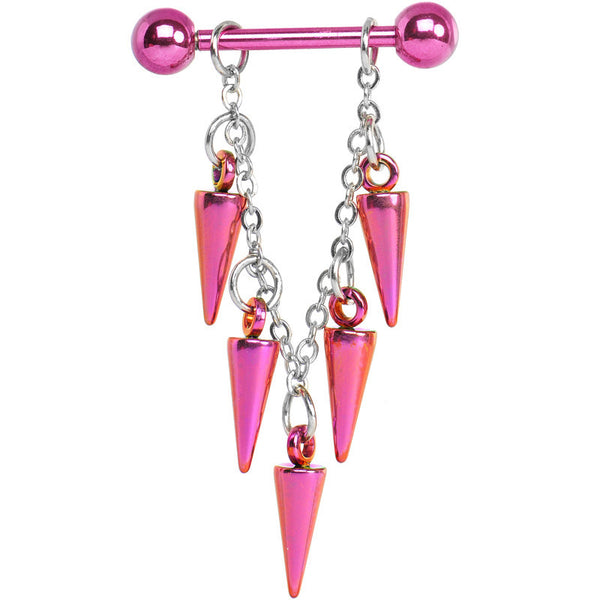 Handcrafted Pink Titanium Spike Dangle Nipple Ring
