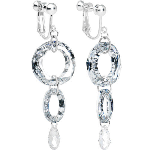 Handmade Crystal Ellipse Clip Earrings Created with Swarovski Crystals