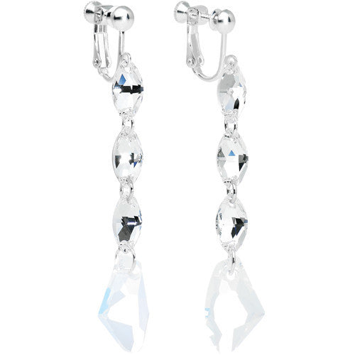 Elegance Galactic Ice Clip Earrings Created with Swarovski Crystals