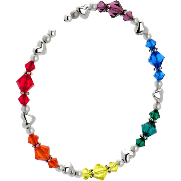 Handcrafted  Heart Rainbow Bracelet Created with Swarovski Crystals