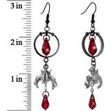 Handmade Gothic Vampire Bat Earrings Created with Swarovski Crystals
