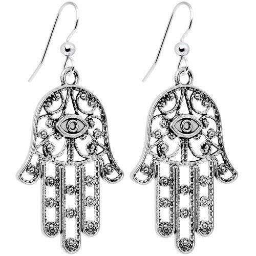 Intricate Silver Hamsa Hand Dangle Earrings