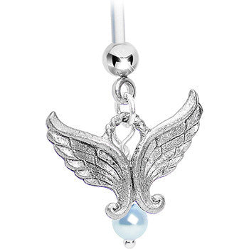 Angel Wings Blue Pregnant Belly Ring Created with Swarovski Crystals