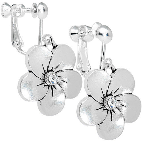 Bright Clear Gem Flower Clip Earrings Created with Swarovski Crystals