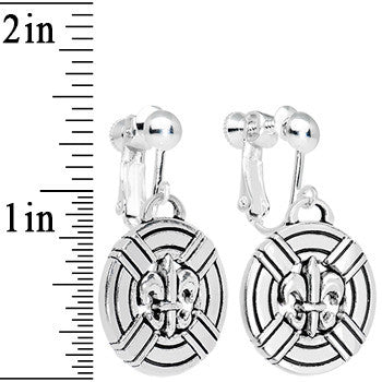 Circular Fleur de Lis Dangle Clip On Earrings