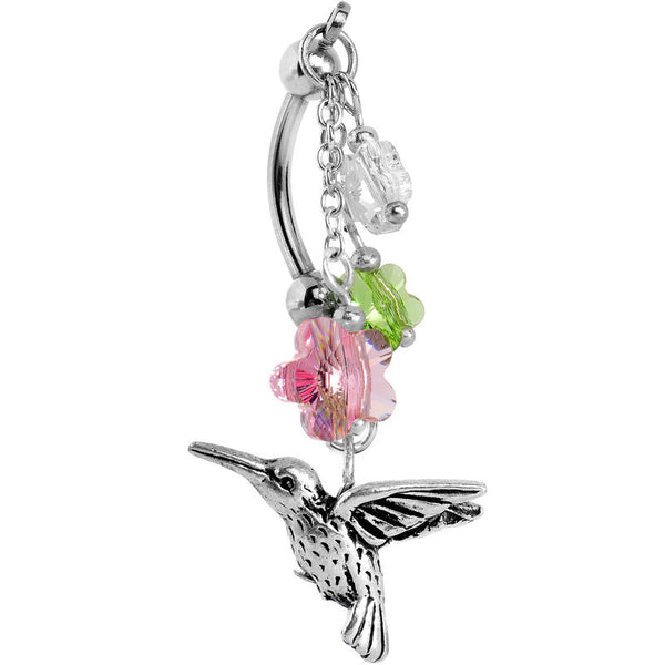 Handmade Hummingbird Flower Belly Ring Created with Swarovski Crystals
