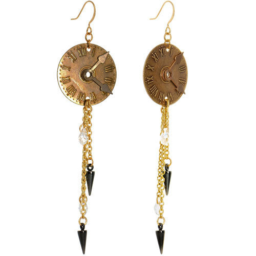 Handcrafted Grandfather Clock Earrings Created with Swarovski Crystals