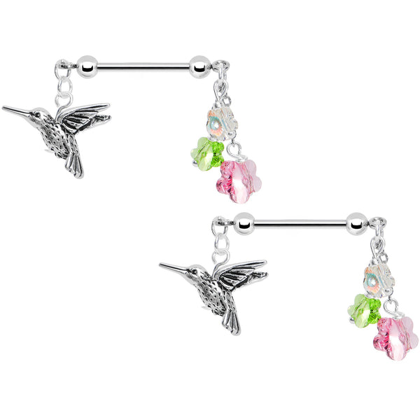 Handcrafted Hummingbird Nipple Ring Set Created With
