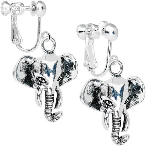 Elegant Elephant Clip On Dangle Earrings