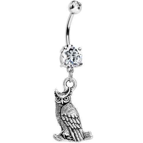 Clear CZ Ominous Owl Dangle Belly Ring