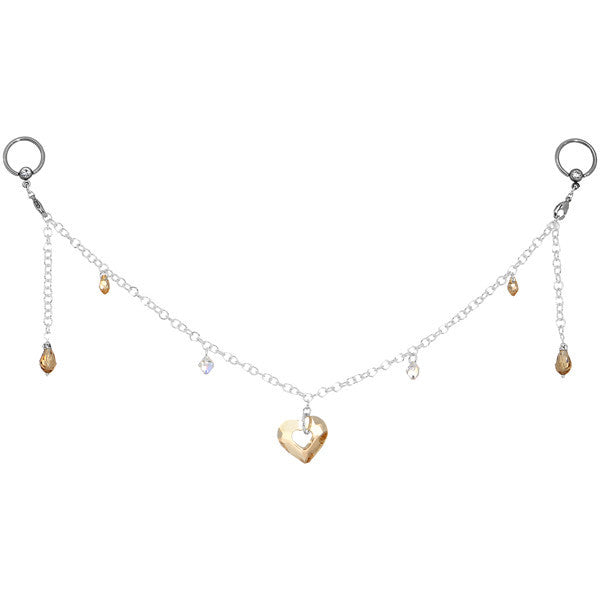 Salted Caramel Heart BCR Nipple Chain Created with Swarovski Crystals