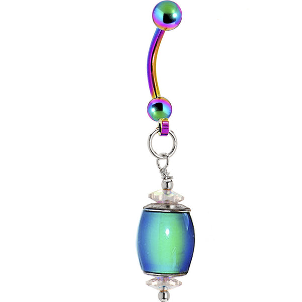 Rainbow Titanium Mood Belly Ring Created with Swarovski Crystals