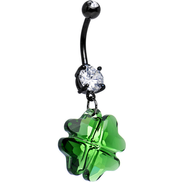 Clear Gem Green Faceted Four Leaf Clover Dangle Belly Ring