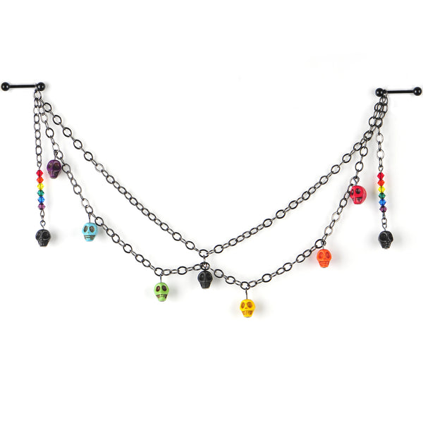 Handcrafted Pride Skulls Nipple Chain Created with Swarovski Crystals