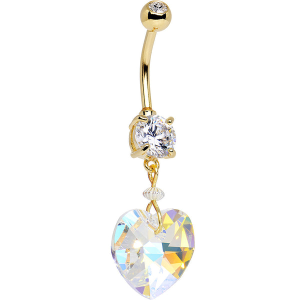 Gold Plated Double Clear Gem Big Beauty Heart Dangle Belly Ring