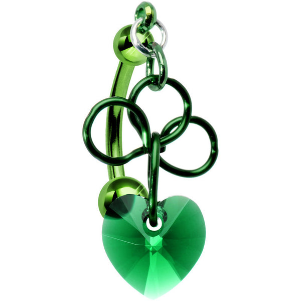 Handcrafted Top Mount Emerald Green Irish Clover and Heart Dangle Belly Ring