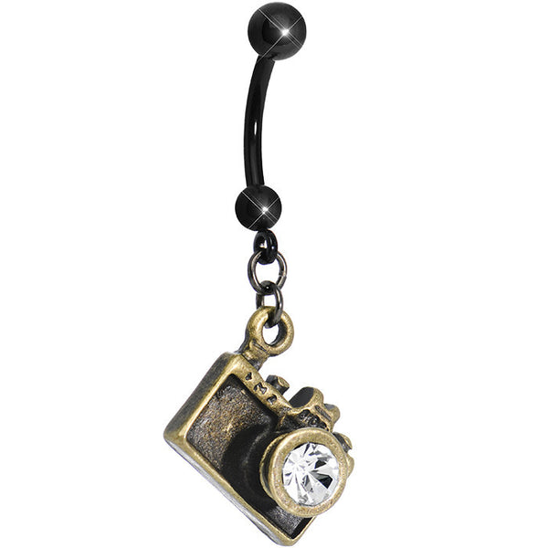 Clear Gem Capture the Moment Brass Camera Dangle Belly Ring