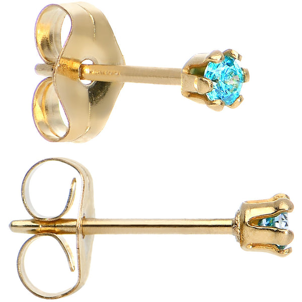 14KT Gold Filled 2mm Aqua Cubic Zirconia Stud Earrings