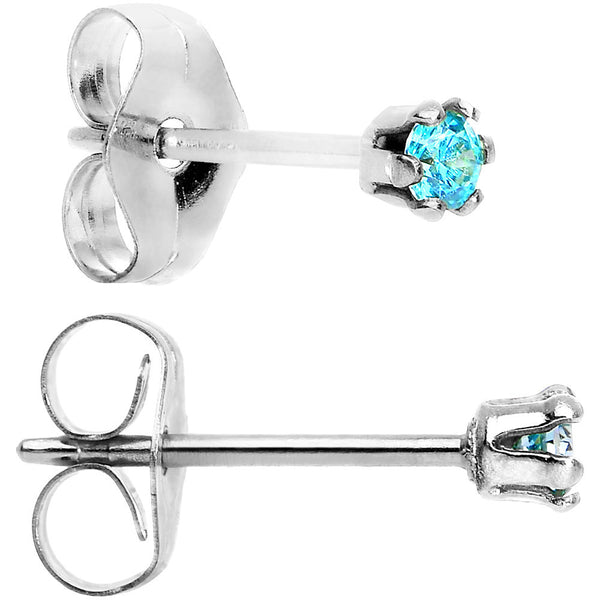 925 Sterling Silver 2mm Aqua Cubic Zirconia Stud Earrings