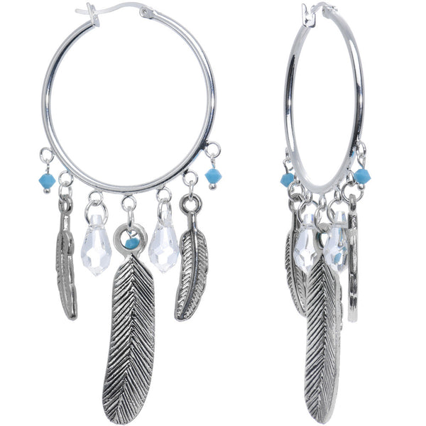 Dazzle Dreamcatcher Hoop Tunnel Earrings with Swarovski Crystals