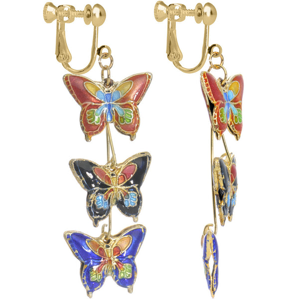 Handcrafted Gold Plated Butterfly Kaleidoscope Clip On Earrings