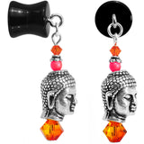 0 Gauge Ebony Wood Buddha Dangle Plug Created with Swarovski Crystals