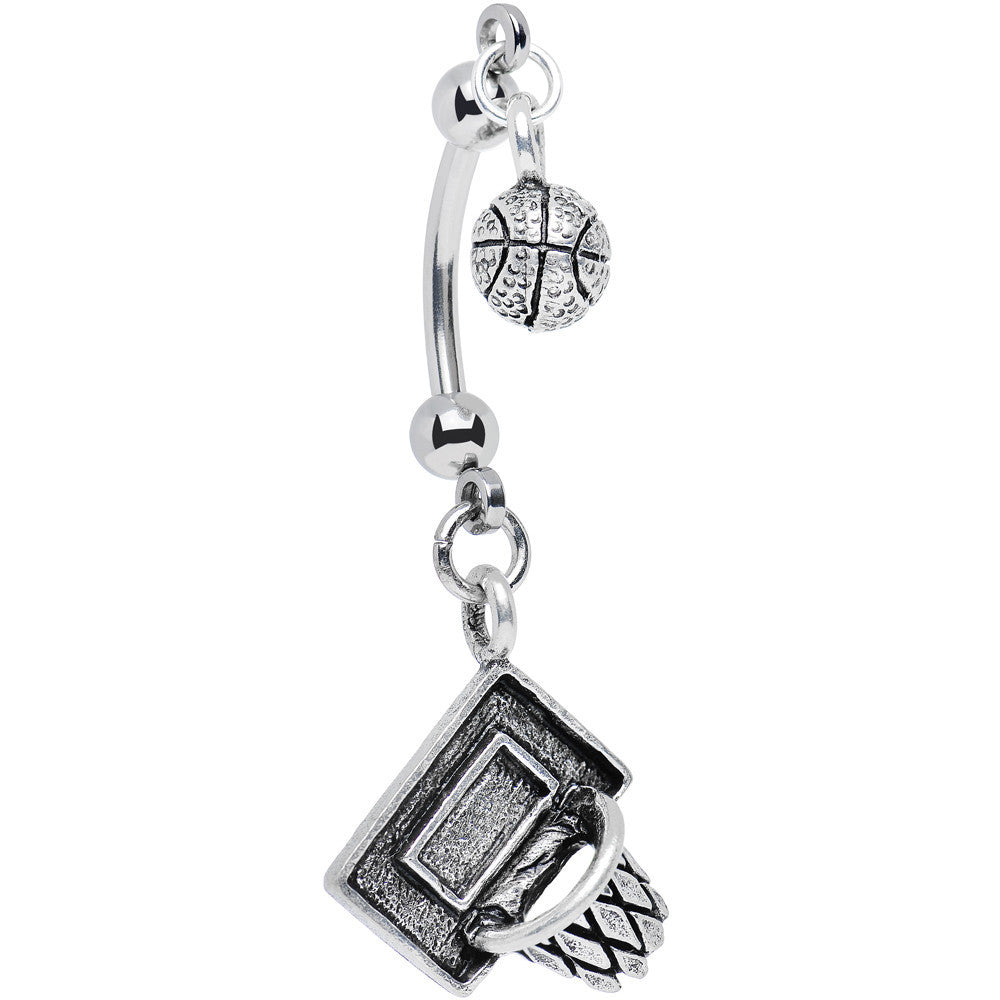 Handcrafted Shooting Hoops Basketball Double Mount Belly Ring