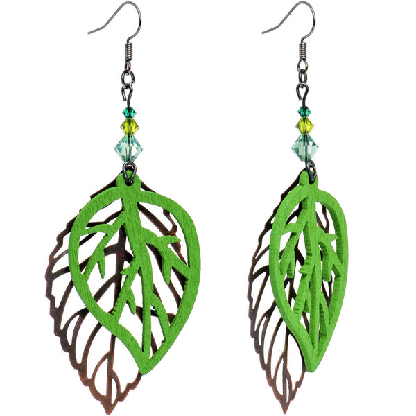 Handcrafted Autumn Leaf Dangle Earrings Created with Swarovski Crystals