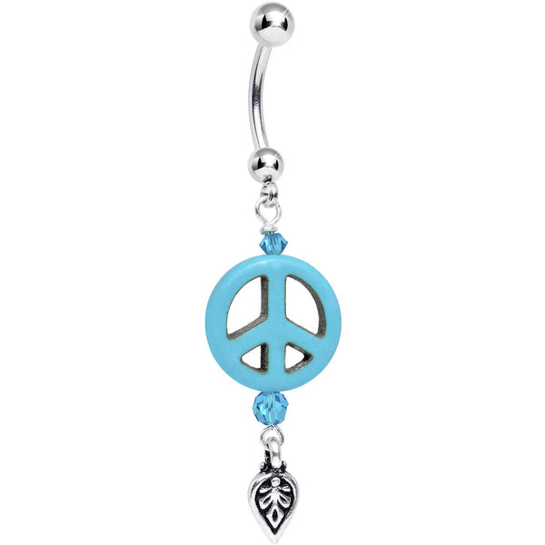 Peace Sign Dreamcatcher Dangle Belly Ring Created with Swarovski Crystals