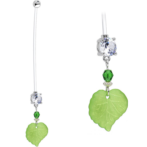 Handcrafted Clear CZ Kelly Green Spring Leaf Pregnancy Belly Ring