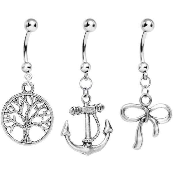 Tree Branches and Nautical Knots Dangle Belly Ring 3 Pack