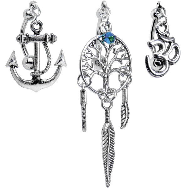 Dream Chase Top Mount Belly Ring 3 Pack Created with Swarovski Crystals