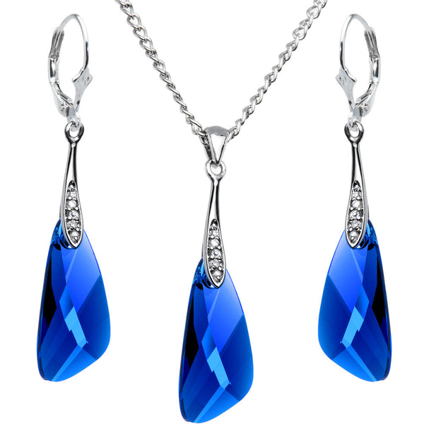Blue Inspire Necklace and Earrings Set Created with Swarovski Crystals
