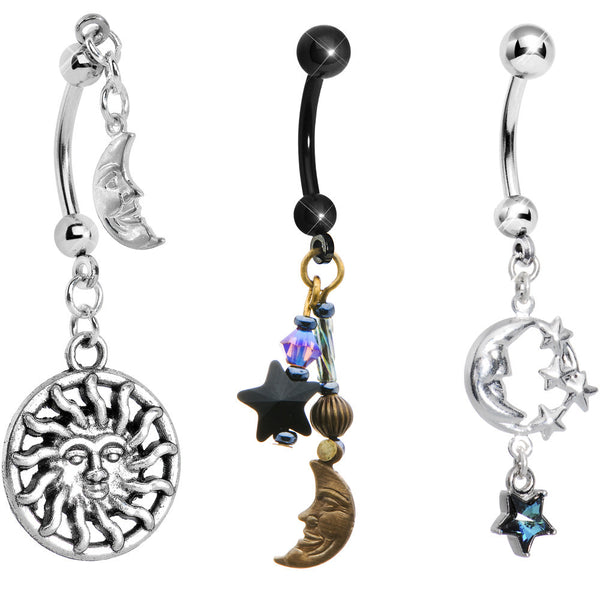 Celestial Dreams Dangle Belly Ring 3 Pack Created with Swarovski Crystals
