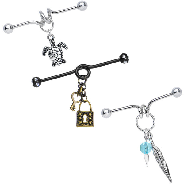 Dangle Charm Industrial Barbell 3 Pack Created with Swarovski Crystals