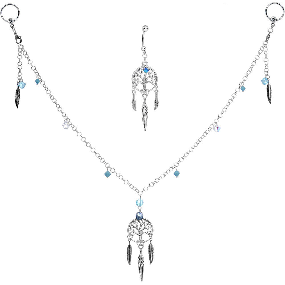 d9475c31655e5 Dreamcatcher Nipple Chain Belly Ring Set Created with Swarovski Crystals