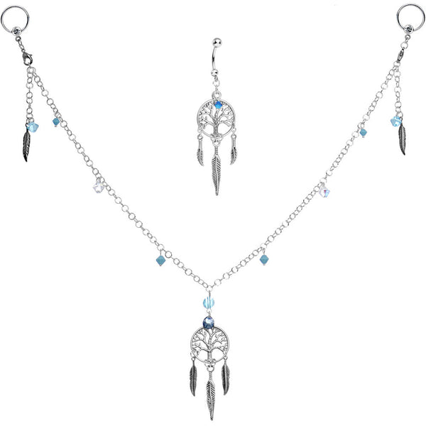 Dreamcatcher Nipple Chain Belly Ring Set Created with Swarovski Crystals