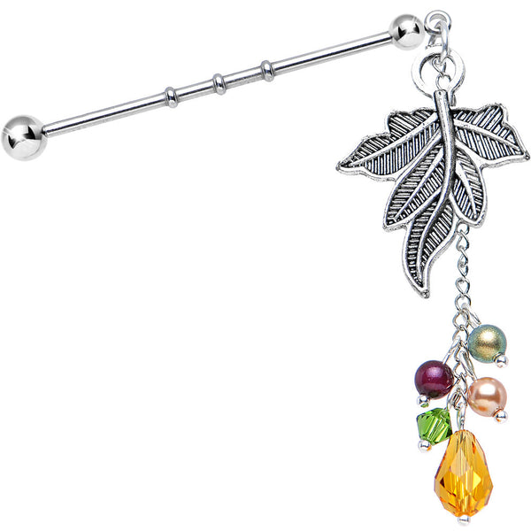 Handmade Bonny Fall Industrial Barbell Created with Swarovski Crystals