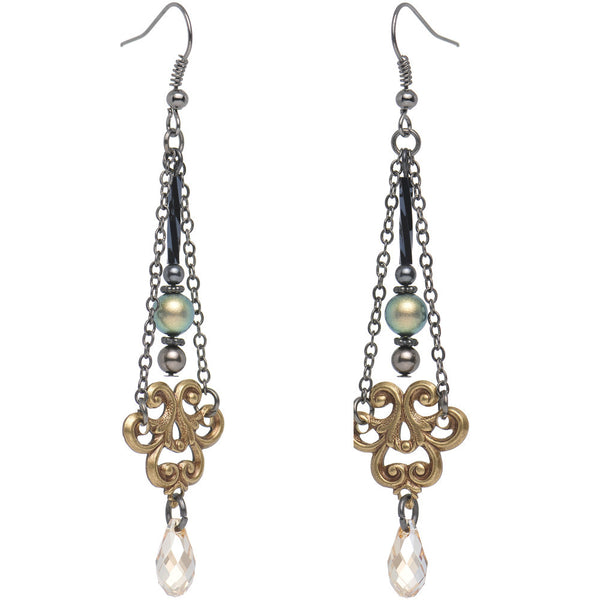 Handcrafted Vintage Swirling Fleur and Gold Crystal Dangle Earrings