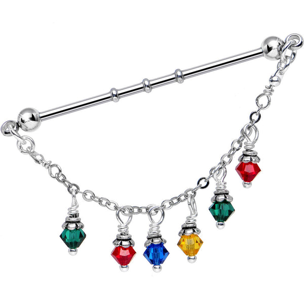 Christmas Lights Industrial Barbell Created with Swarovski Crystals