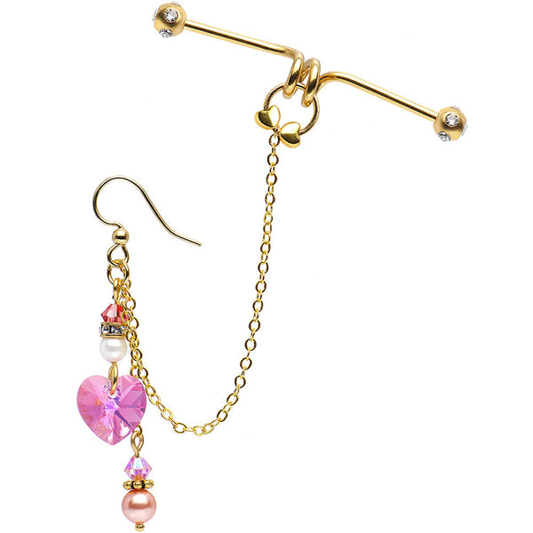 Handcrafted Gold Plated Joyful Hearts Industrial Barbell Chain Earring