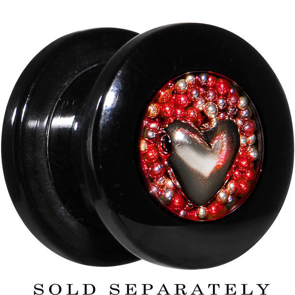 Handcrafted 00 Gauge Black Acrylic Red Beads Heart Screw Fit Plug