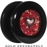 "Handcrafted 5/8"" Black Acrylic Red Beads Heart Screw Fit Plug"