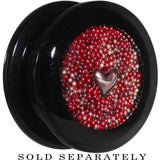 Handcrafted 20mm Black Acrylic Red Beads Heart Screw Fit Plug