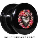 Handcrafted 00 Gauge Black Acrylic Pink Beads Heart Screw Fit Plug